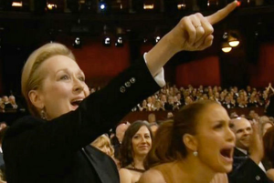 Meryl screams in support for equal wages and women's rights!